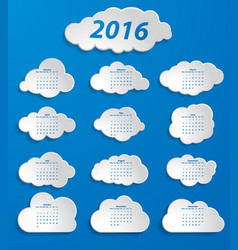 white clouds 2016 calendar on a blue background vector image