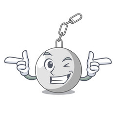 Wink wrecking ball hanging from chain cartoon vector