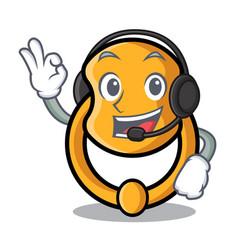 with headphone vintage door knocker on mascot vector image