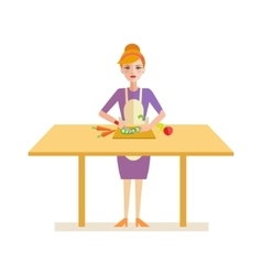 Woman Prepares Cucumber for a Salad vector image