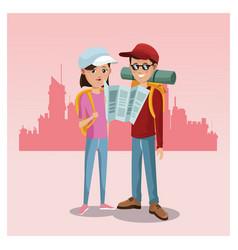 young couple tourist map rucksack cap traveler vector image
