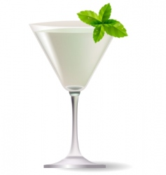 cocktail with mint leaves vector image