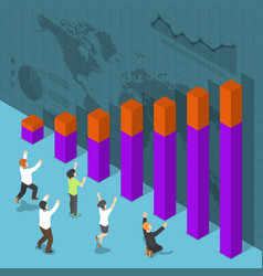 isometric happy business people celebrating vector image vector image