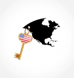 key with American flag vector image