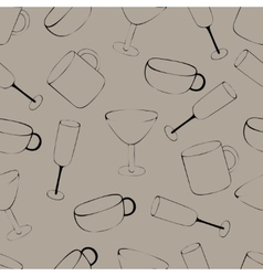Pattern with crockery vector image vector image