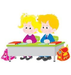 School children at lesson vector image vector image