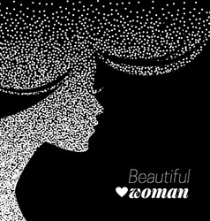 Beautiful girl silhouette of dotwork woman vector image vector image