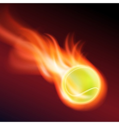 Burning tennis ball vector image vector image