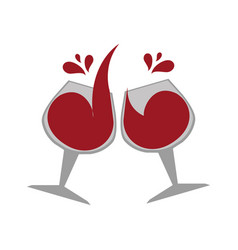 color emblem with wine glasses vector image