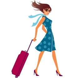 travelling woman vector image