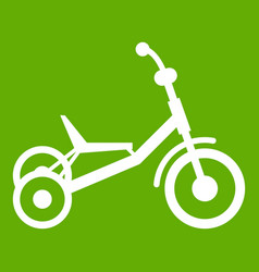 tricycle icon green vector image
