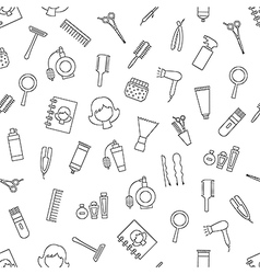 Beauty saloon pattern black icons vector image vector image