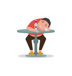 cartoon drunken man sleeping on a table vector image vector image