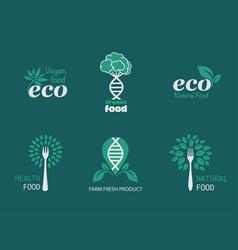 eco food icons vector image