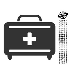 first aid toolkit icon with work bonus vector image