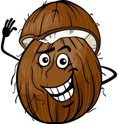 funny coconut fruit cartoon vector image vector image