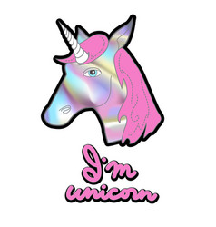holographic unicorn patch for print on t-shirt vector image vector image