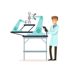 male scientist and robotic arm conducting vector image