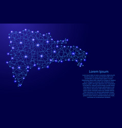 map of dominican republic from polygonal blue vector image