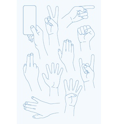 set Hands Icons vector image vector image