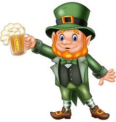 Cartoon St Patricks Day Leprechaun with mug beer vector image