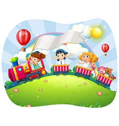 Children riding on train at daytime vector image vector image