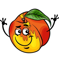funny peach fruit cartoon vector image vector image