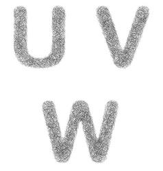 Furry sketch font set - letters u v w vector
