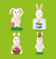 happy easter set bunny with card basket egg vector image