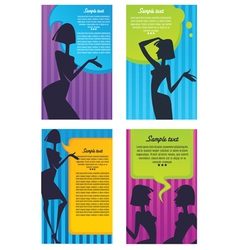 headers with girl silhouette and speech bubbles vector image vector image