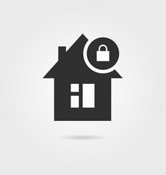 locked home icon with shadow vector image vector image