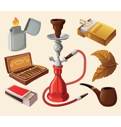 Set of traditional smoking devices vector image