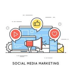 social media marketing smm network communication vector image vector image