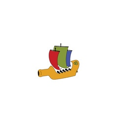 Wine bottle ship vector image