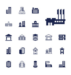 22 buildings icons vector