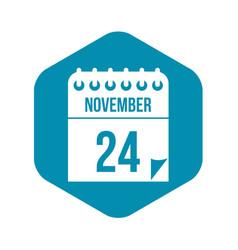 24 november calendar icon in simple style vector image