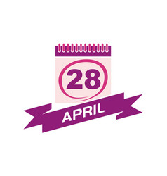 28 april calendar with ribbon vector