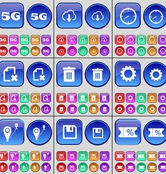 5G Cloud Clock File Trash can Gear Checkpoint vector image