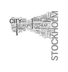 A tourist guide to stockholm text word cloud vector