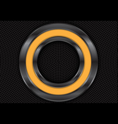 abstract yellow metal circle on black vector image