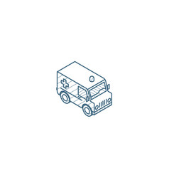 ambulance medical car isometric icon 3d line art vector image