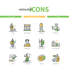 ancient rome - modern line design style icons set vector image
