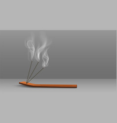 Aroma sticks incense with realistic smoke 3d vector