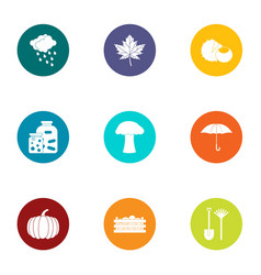 autumn period icons set flat style vector image