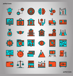 Banking and financial color line icons perfect vector