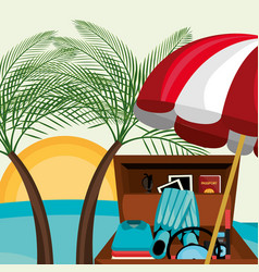 beach landscape with suitcase and set icons vector image