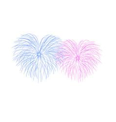 beautiful heart-fireworks couple romantic salute vector image