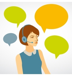Beautiful woman working in a call center with vector image