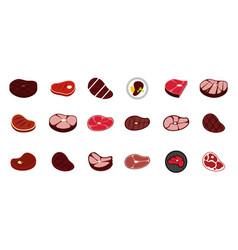 beef icon set flat style vector image