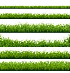 Big set green grass borders vector
